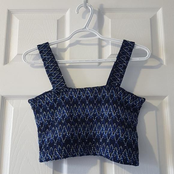 NWT Blue Zara geometric print crop tank top S